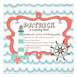 Helm and Lighthouse Nautical Birthday Invitation