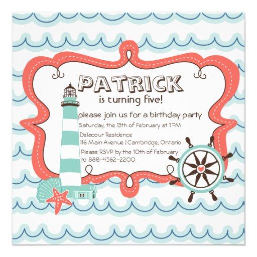 Helm and Lighthouse Nautical Birthday Invitation