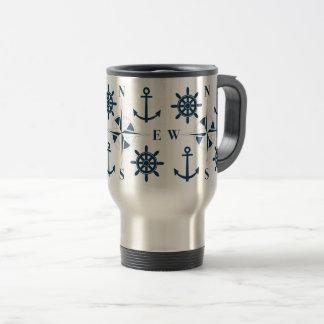 Helm Ship's Steering Anchors & Compass Navy White Travel Mug