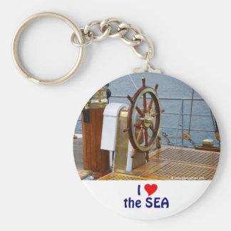 Helm wheel basic round button key ring