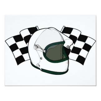 Helmet & Flags 11 Cm X 14 Cm Invitation Card