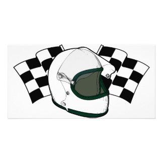 Helmet & Flags Personalised Photo Card