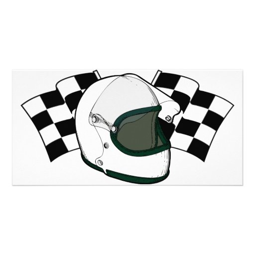 Helmet & Flags Personalized Photo Card