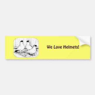 Helmet Pigeon Trio Bumper Sticker
