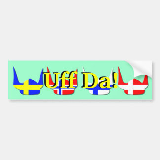 Helmet Viking Flag Norway Design Bumper Sticker