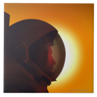 Helmeted Astronaut Against the Sun Tile
