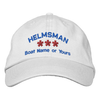 HELMSMAN Personalized Name Custom WHITE RED BLUE Embroidered Hats