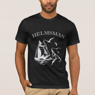Helmsman Sailboat Sailor Mens Black T-shirt