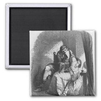 Heloise and Abelard kissing Square Magnet