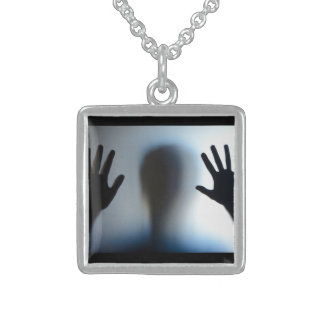 Help Me Sterling Silver Necklace-Square Square Pendant Necklace