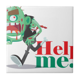 help me zombie - Funny Design Small Square Tile