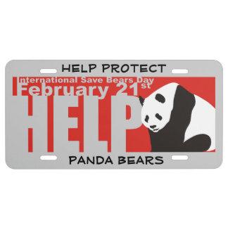 HELP PROTECT PANDA BEARS LICENSE PLATE