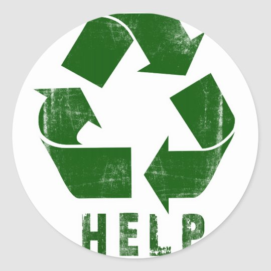 Help Recycle (Green) Round Sticker