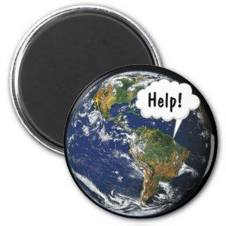 HELP! Save the World 6 Cm Round Magnet