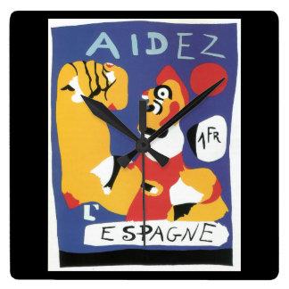 Help Spain (1937)_Propaganda Poster Wall Clock