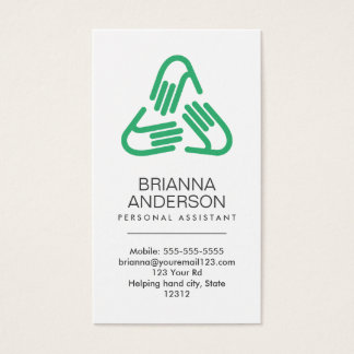 Helping hands symbol, green, personal assistant business card