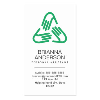 Helping hands symbol, green, personal assistant pack of standard business cards