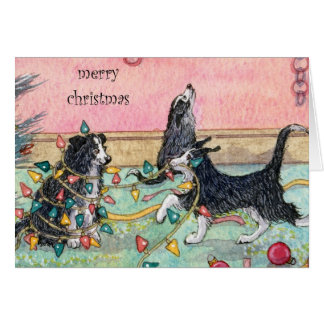 Helping with the Lights, Dogs, Christmas Card