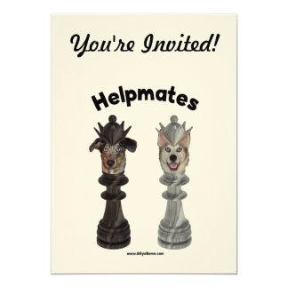 Helpmates Chess Dogs 13 Cm X 18 Cm Invitation Card