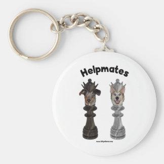 Helpmates Chess Dogs Basic Round Button Key Ring
