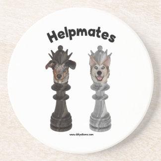 Helpmates Chess Dogs Beverage Coasters