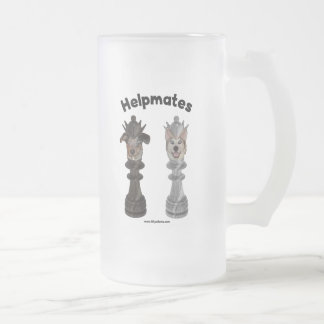 Helpmates Chess Dogs Frosted Glass Mug