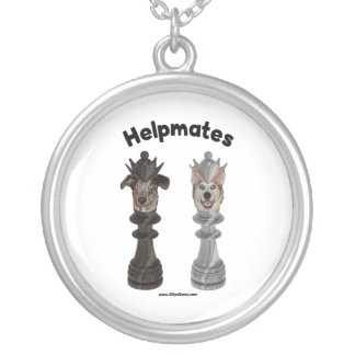 Helpmates Chess Dogs Round Pendant Necklace
