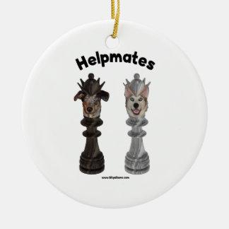 Helpmates Chess Dogs Round Ceramic Decoration