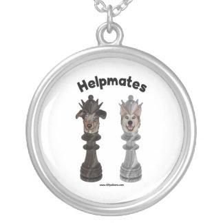Helpmates Chess Dogs Round Pendant Necklace
