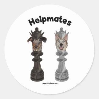 Helpmates Chess Dogs Round Sticker