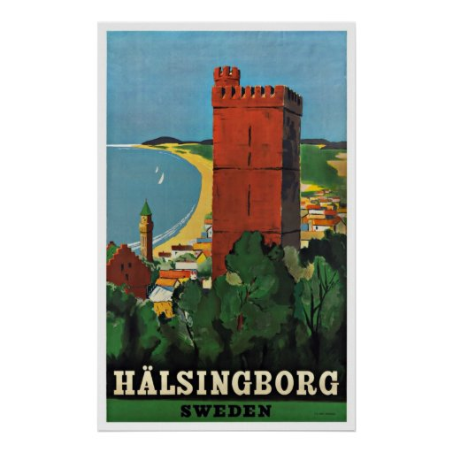 Helsingborg Sweden Vintage Travel Poster