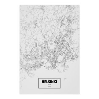 Helsinki, Finland (black on white) Poster