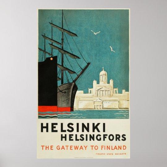 Helsinki, Finland Travel Poster Gateway to Finland