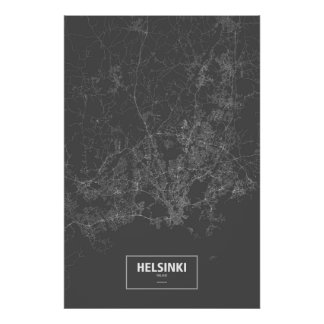 Helsinki, Finland (white on black) Poster