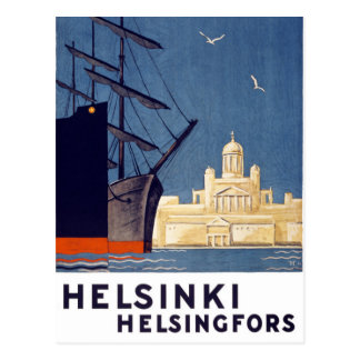 Helsinki Vintage Travel Poster Restored Postcard