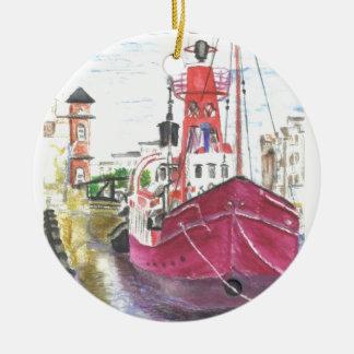 Helwick Tug Boat Swansea Round Ceramic Decoration