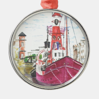Helwick Tug Boat Swansea Silver-Colored Round Decoration