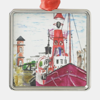 Helwick Tug Boat Swansea Silver-Colored Square Decoration