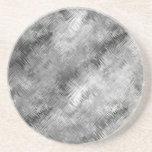 Hematite Grey Scribbled Texture Beverage Coasters