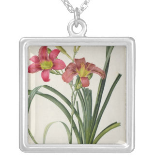 Hemerocallis fulva, from `Les Liliacees', 1805 Silver Plated Necklace