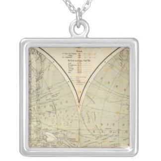 Hemisphere Atlas Map Silver Plated Necklace