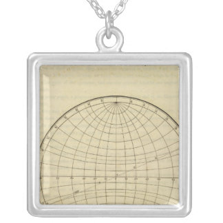 Hemisphere map silver plated necklace