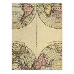 Hemispheres Hand Coloured Atlas Map Postcard