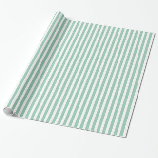 Hemlock Green & White Striped Pattern Gift Wrap