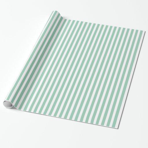 Hemlock Green & White Striped Pattern Gift Wrap