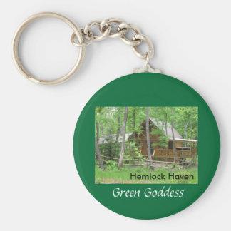 Hemlock Haven Green Goddess Basic Round Button Key Ring