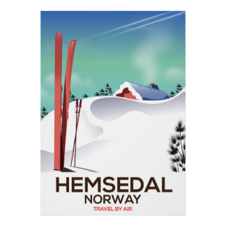 Hemsedal Norway Ski travel poster