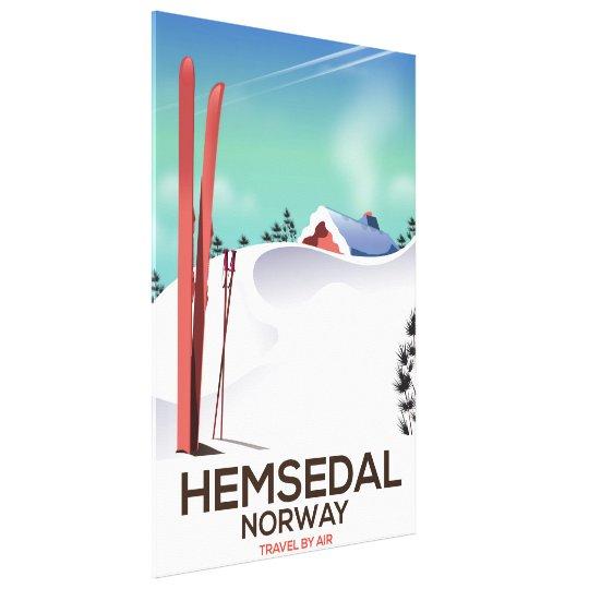 Hemsedal Norway Ski travel poster Canvas Print