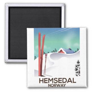Hemsedal Norway Ski travel poster Square Magnet