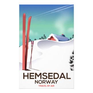 Hemsedal Norway Ski travel poster Stationery